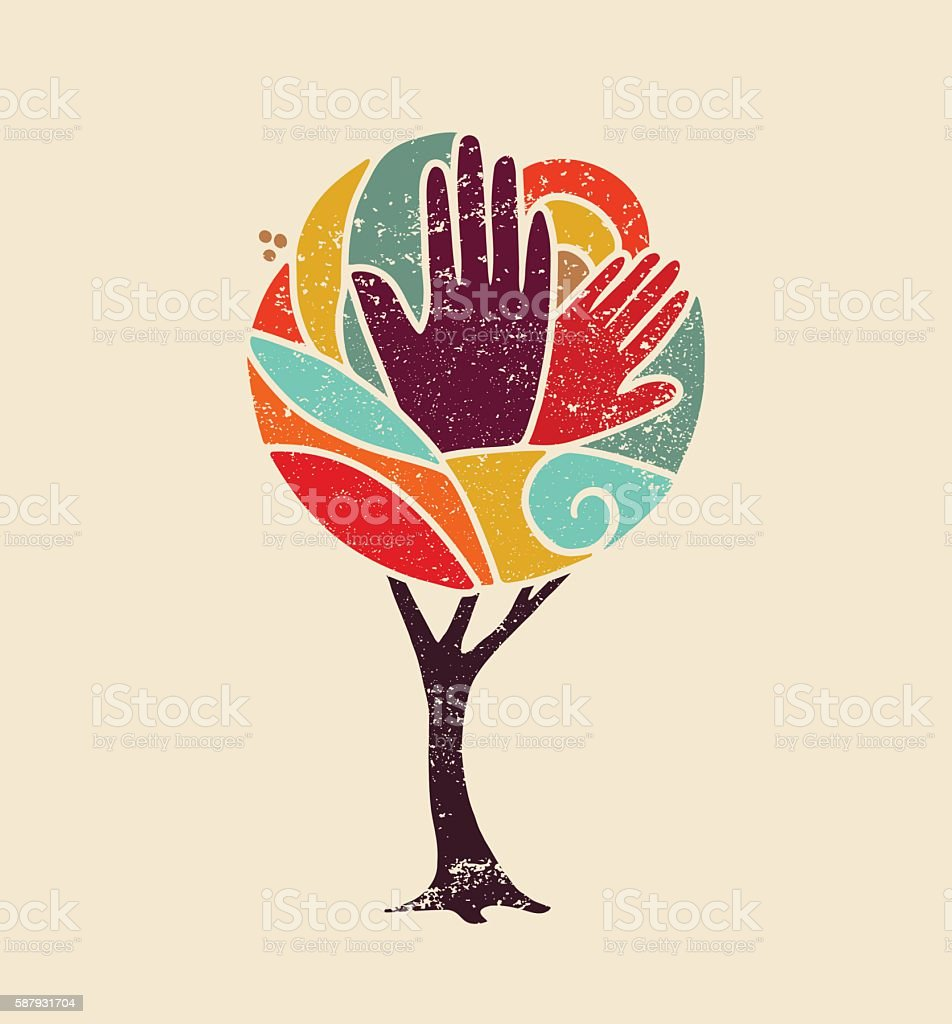 Color concept tree with diversity people hands