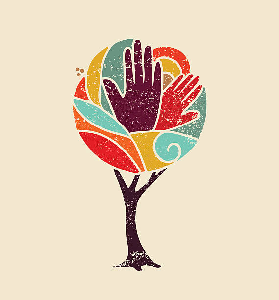 Color concept tree with diversity people hands vector art illustration