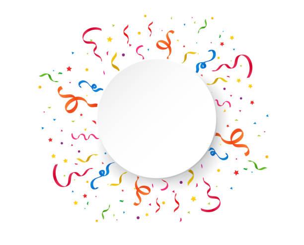 ilustrações de stock, clip art, desenhos animados e ícones de color confetti rising into the sky. confetti is a symbol in celebrations and special festivals. - serpentina