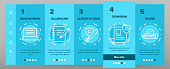 Color Copywriting and Blogging Vector Onboarding Mobile App Page Screen. Copywriting, Creative Writing Outline Symbols Pack. Content Creating, Text Editing. Vlog Post, Article Illustrations