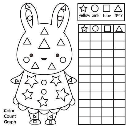 Color, count and graph. Educational children game. Color rabbit and counting shapes. Printable worksheet for kids and toddlers
