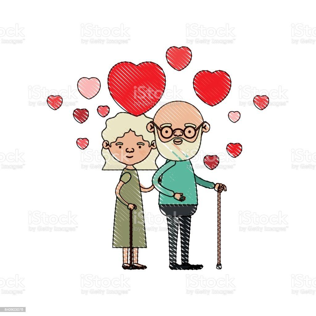 Farbe Kreide Silhouette Der Karikatur Ganzkörper älteres Ehepaar ...