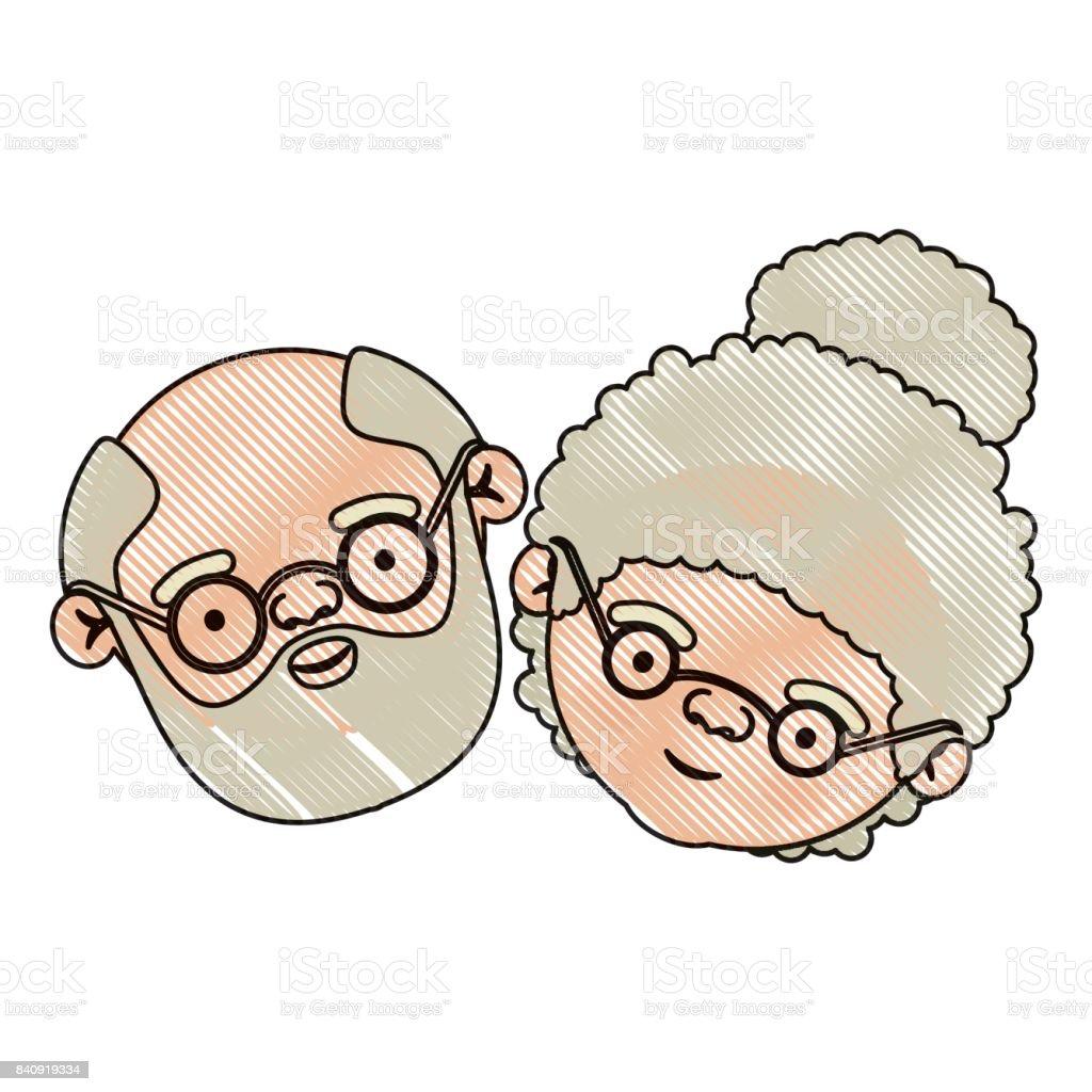 Renk Mum Boya Siluet Sakallı Yaşlı çift Büyükbaba Ve Büyükanne
