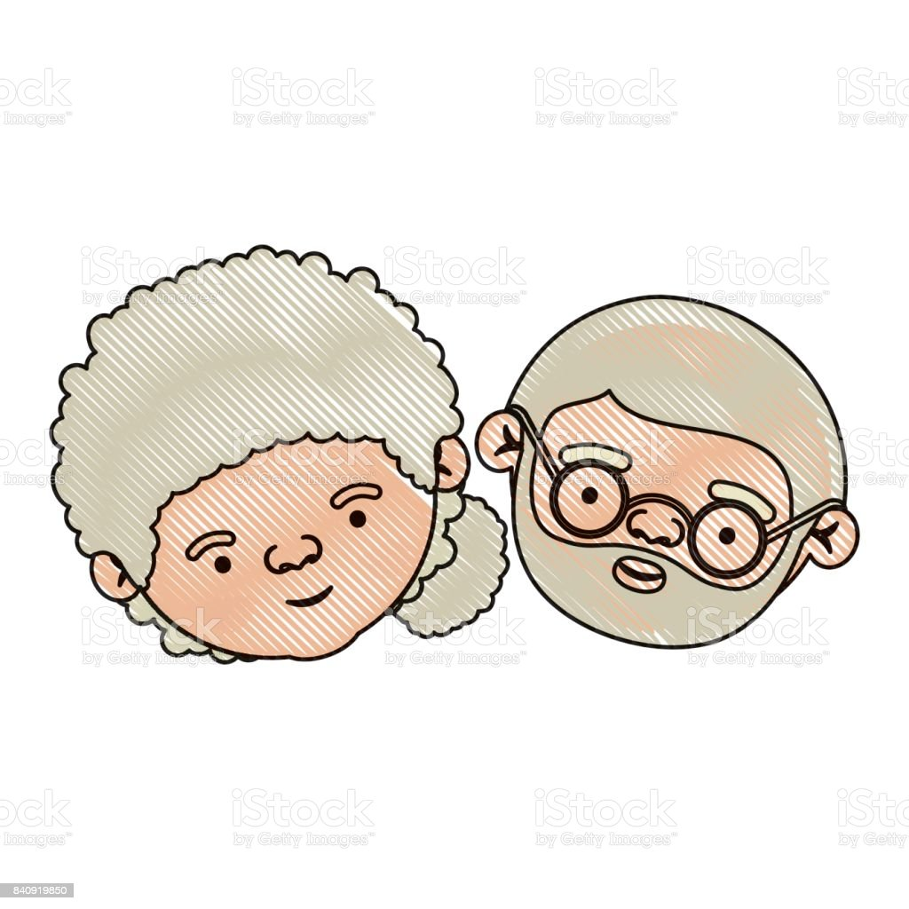 Renk Mum Boya Siluet Kıvırcık Toplanan Yan Saç Modeli Ile Yaşlı çift