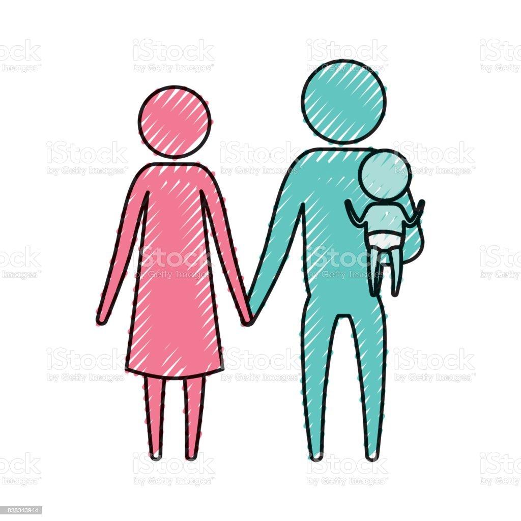 Pastel Boya Siluet Piktogram çift Anne Taşıyan Küçük Bir çocuk Ile
