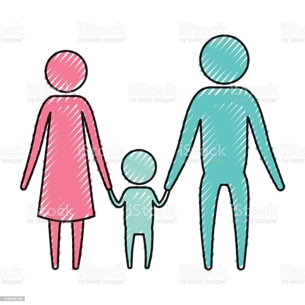 Pastel Boya Siluet Piktogram Anne Ile Küçük Bir çocuk Tutuşup Renk