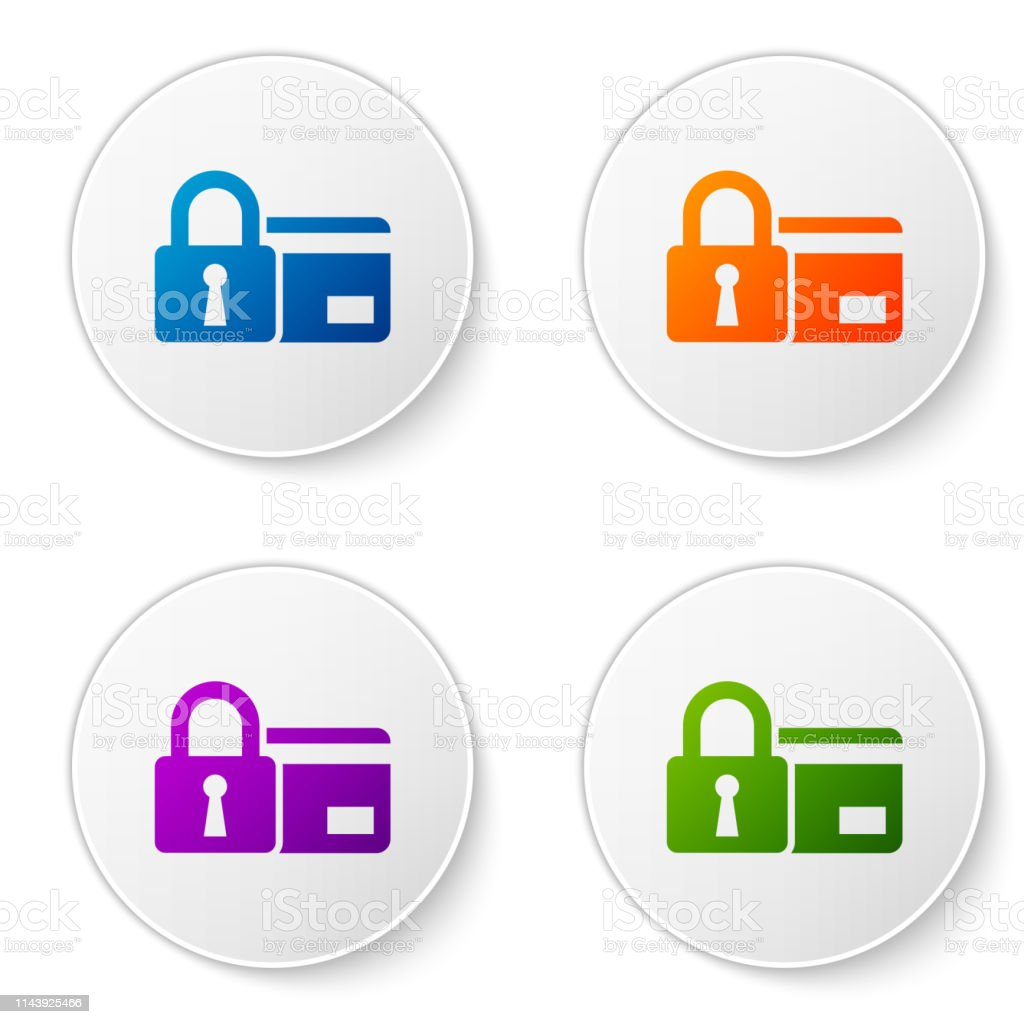Color Credit Card With Lock Icon Isolated On White Background Locked