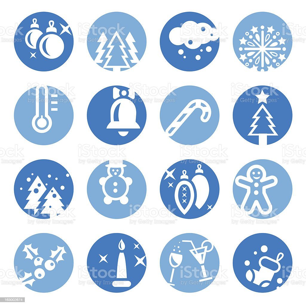 color cristmas icons set royalty-free stock vector art