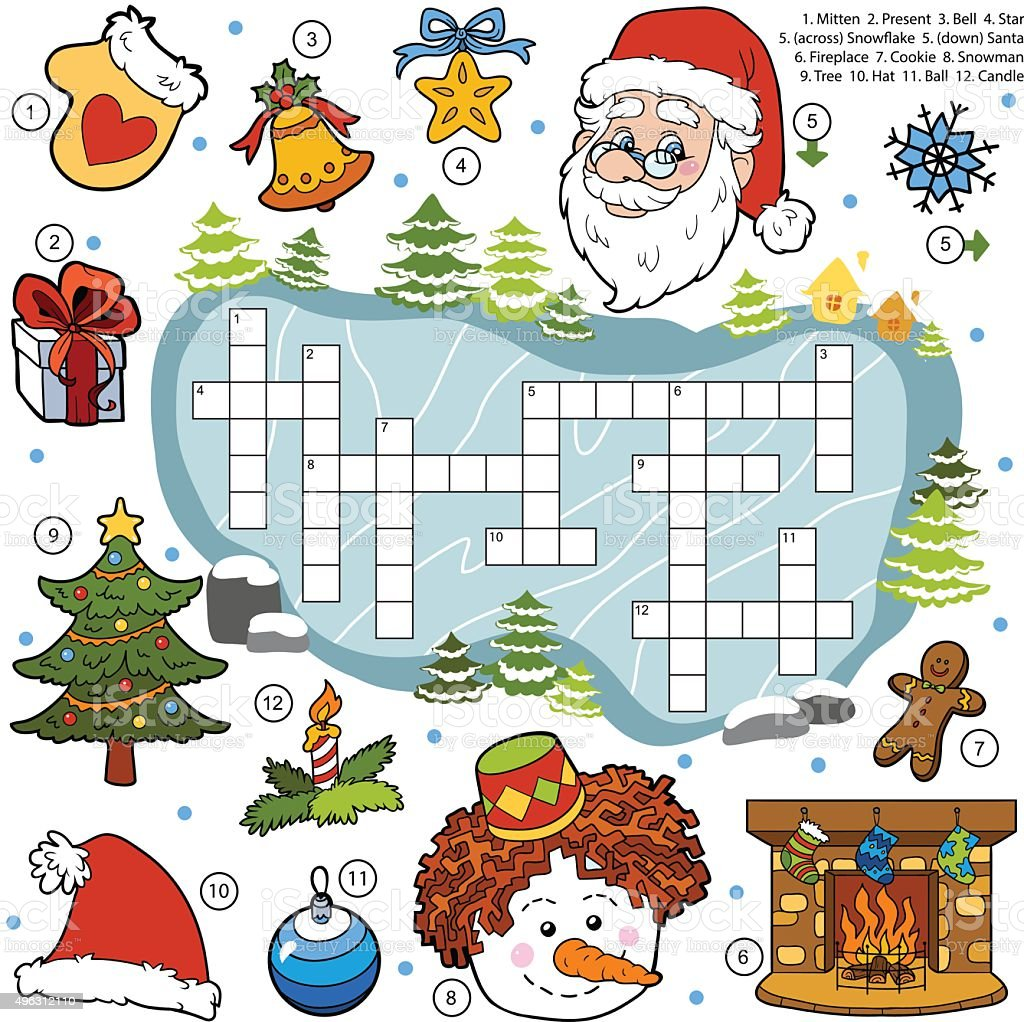 color crossword education game for children about christmas stock