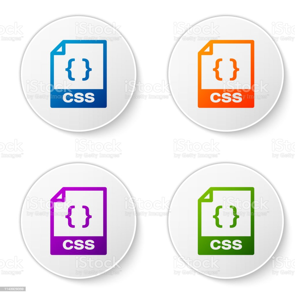 Color Css File Document Icon Download Css Button Icon Isolated On