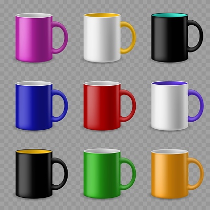 Color cups. Ceramic colorful cup template for different drinks, branding identity design. Pottery mugs vector mockups