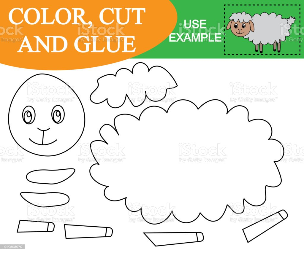Color Cut And Glue To Create The Image Of Sheep Educational Game For ...