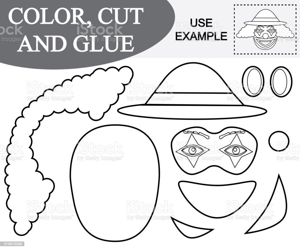 Renk Kesme Ve Yapıştırma Palyaço Yüzü Görüntüsünü çocuklar Için Oyun