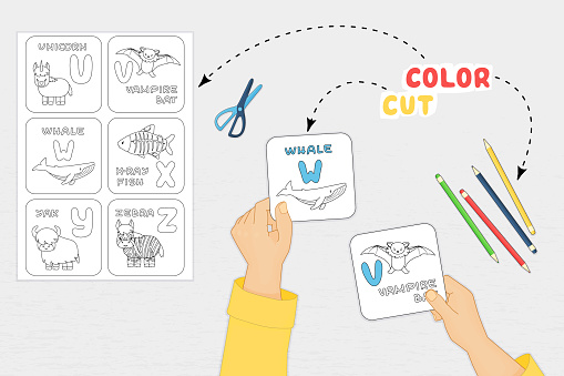 Color cut glue paper game for preschool children development. Cut Alphabet cards parts of the image, color, glue on the paper. Vector illustration presentation with arms, scissors top view