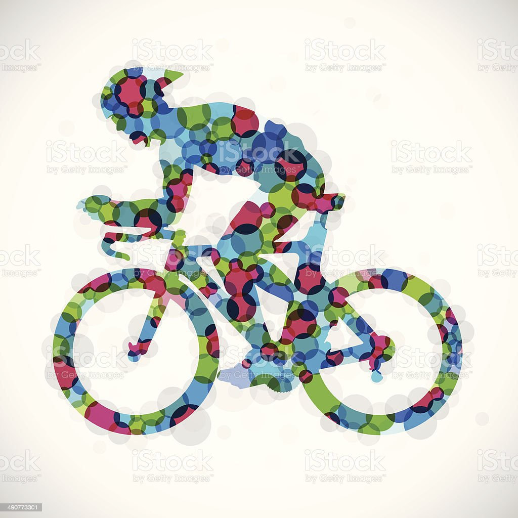 Color Cyclist vector art illustration