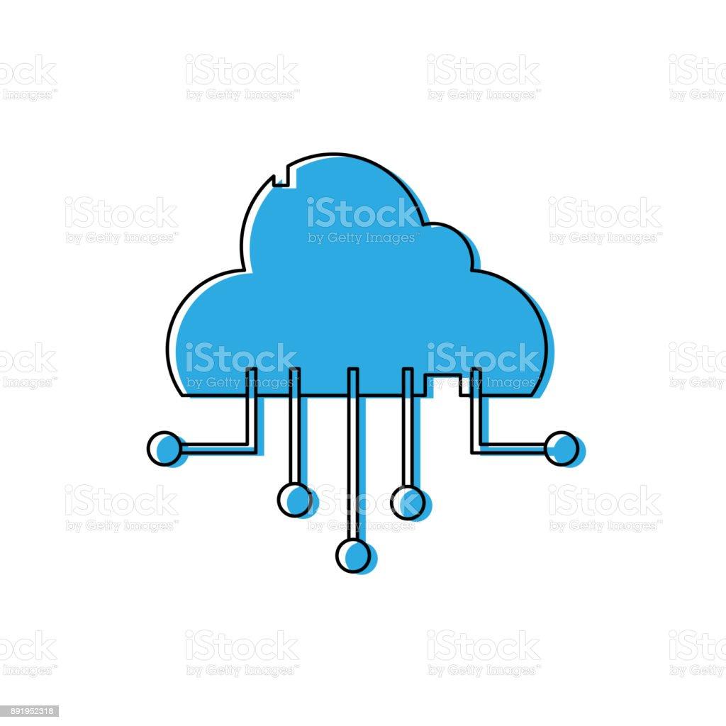 Color Data Cloud Network Connection Server Stock Vector Art & More ...