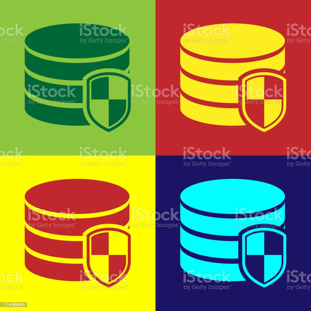 Color Database Protection Icon Isolated On Color Backgrounds