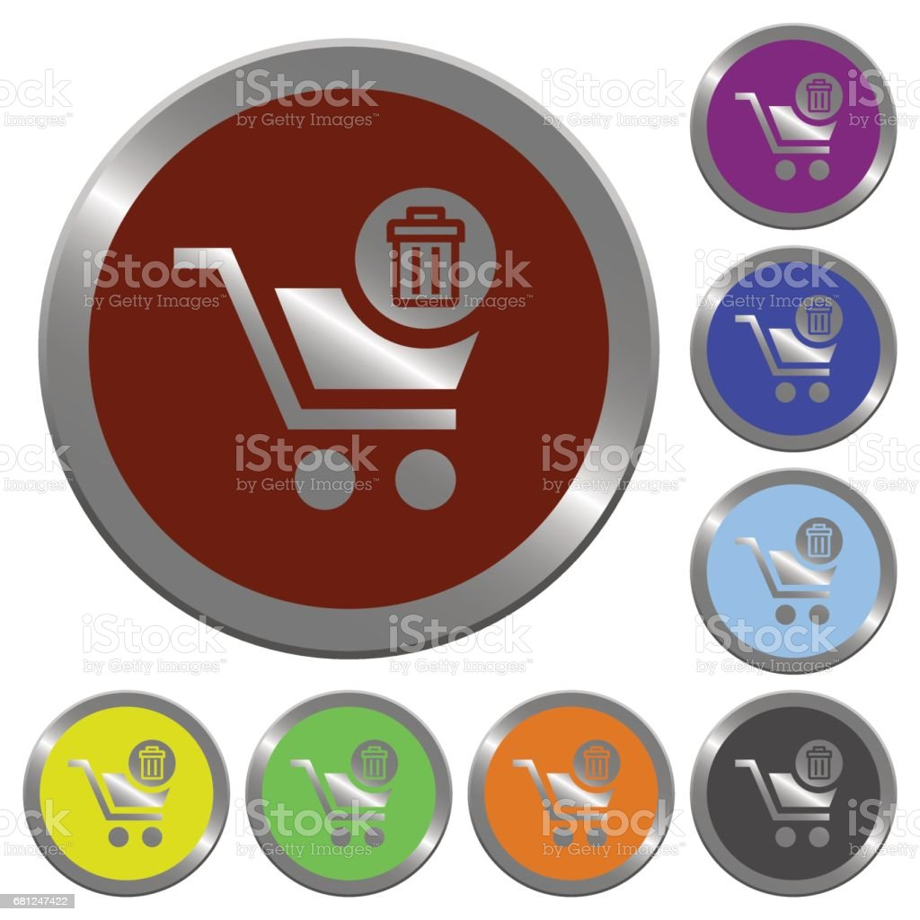 Color delete from cart buttons vector art illustration