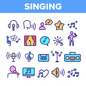 Color Different Singing Icons Set Vector Thin Line. Singing And Listening Song And Music In Karaoke, Concert, Tape-recorder Or Audiophone Linear Pictograms. Contour Illustrations