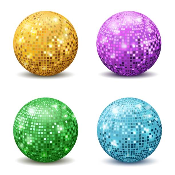 Color disco balls. Realistic reflection ball mirrored disco party silver glitter equipment retro rays mirrorball set Color disco balls. Realistic reflection ball mirrored disco party silver glitter equipment retro halo rays shining mirrorball isolated vector set disco ball stock illustrations