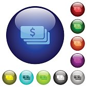 Color dollar banknotes glass buttons