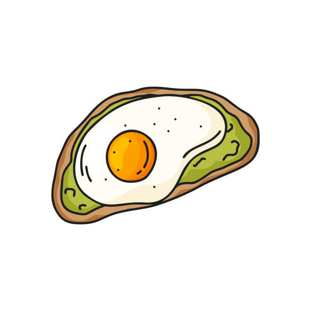 Color doodle avocado toast icon. Color doodle avocado toast icon. Hand drawn vector illustration. Healthy food concept. Bread with mashed avocado and fried egg. Isolated element on white background avocado clipart stock illustrations