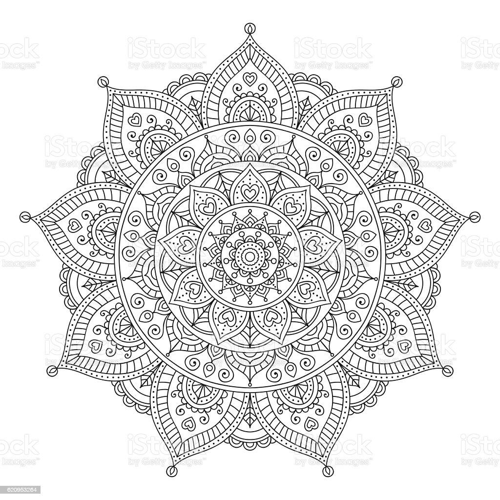 color doodle mandala vector art illustration