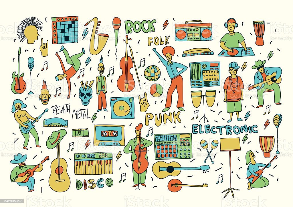 color doodle music vector art illustration