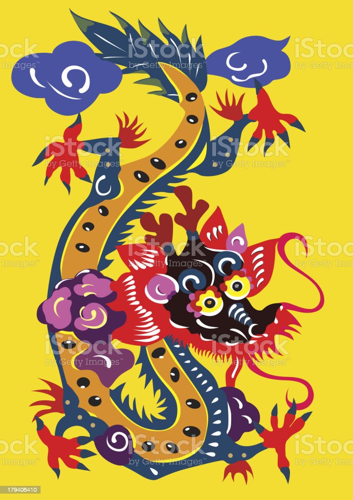 color dragon pattern royalty-free stock vector art