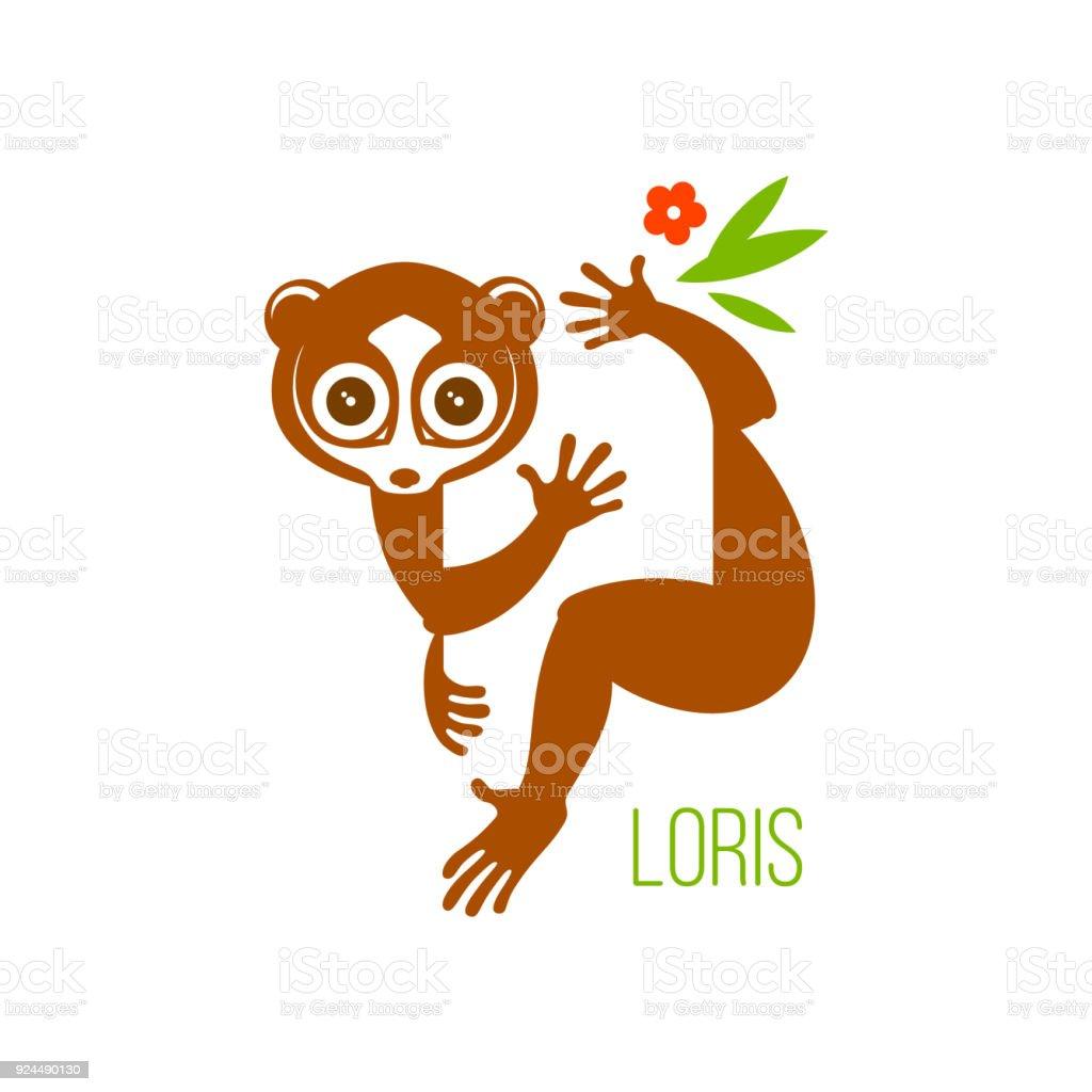 図面イラストや野生夜行性目動物キツネザル ロリ熱帯の木の枝に座って