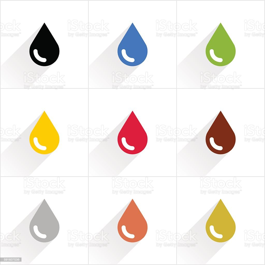 Color drop icon in flat style vector art illustration