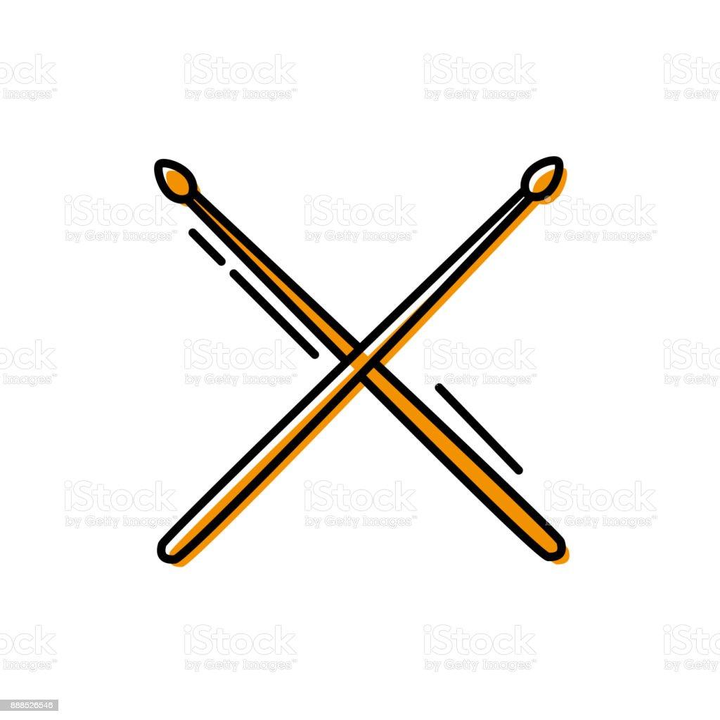objet de couleur du pilon en bois pour jouer à tambour - Illustration vectorielle