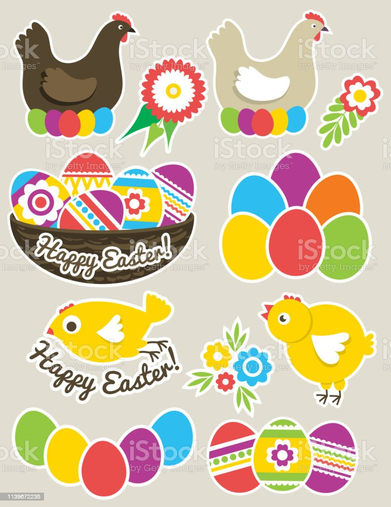 Color Easter stickers with eggs, hen, nest and chicken. Holiday...