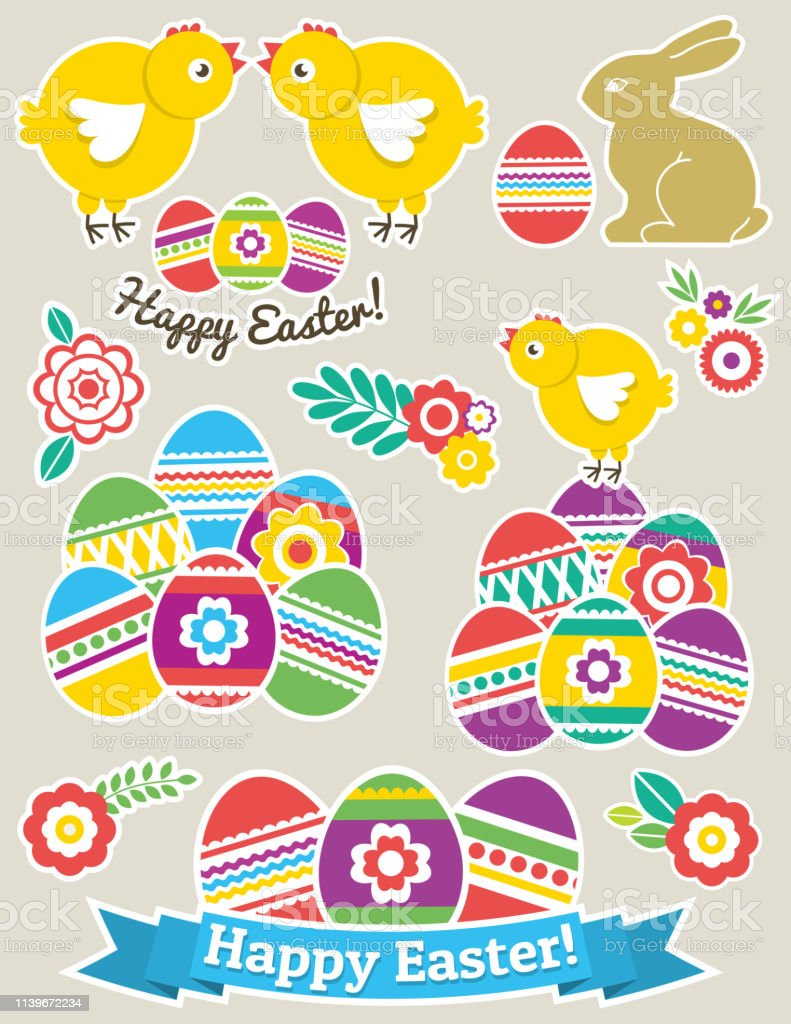 Color Easter stickers with eggs, rabbit and chicken. Holiday Easter...