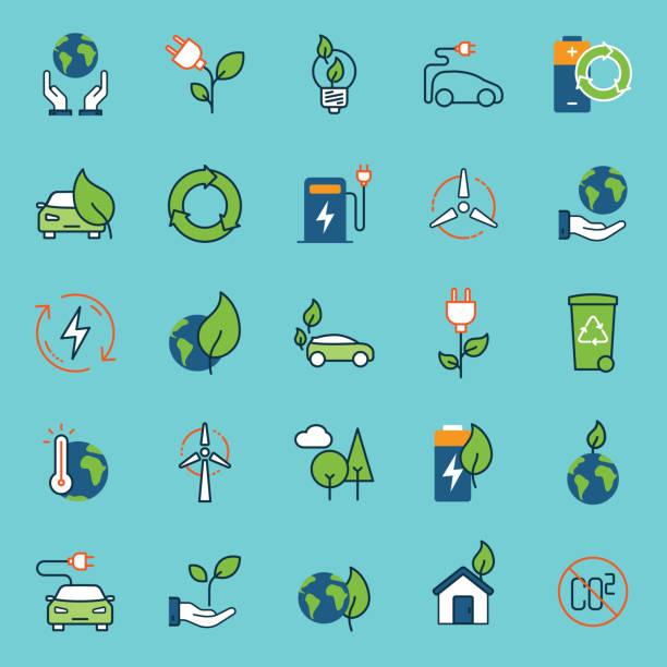 farbtabelle ökologie symbole - klimaschutz stock-grafiken, -clipart, -cartoons und -symbole