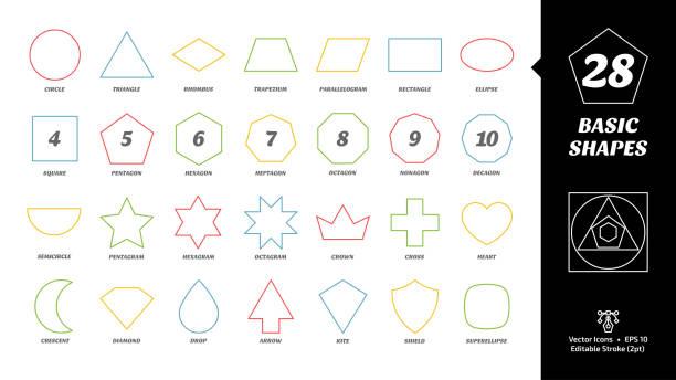 illustrazioni stock, clip art, cartoni animati e icone di tendenza di color editable stroke outline basic simple shape icon set with geometric figures: circle, triangle, square, pentagon, hexagon, heptagon, octagon, nonagon, decagon and more. - rombo