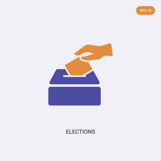 ilustraciones, imágenes clip art, dibujos animados e iconos de stock de icono vectorial de concepto de elecciones de 2 colores. símbolo de signo vectorial de elecciones de dos colores diseñado con colores azul y naranja se puede utilizar para web, móvil y logotipo. eps 10 - polling place