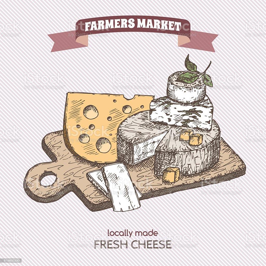 Ilustración de Vintage Color Mercado De Agricultores De Queso Placa ...