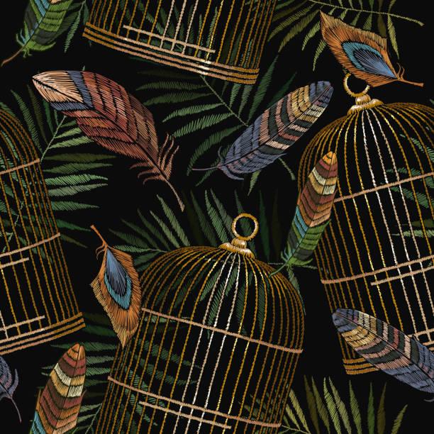ilustrações de stock, clip art, desenhos animados e ícones de color feathers and golden cage embroidery seamless pattern. beautiful feathers of tropical birds classic embroidery seamless background. fashionable template for design of clothes, t-shirt design - pena de pássaro algodão