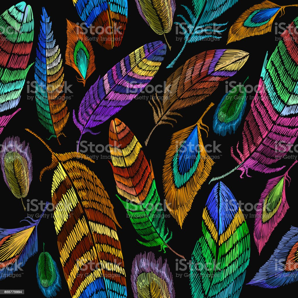 Color feathers embroidery seamless pattern. Fashionable template for design of clothes, t-shirt design. Beautiful feathers of tropical birds fashion embroidery seamless background – artystyczna grafika wektorowa