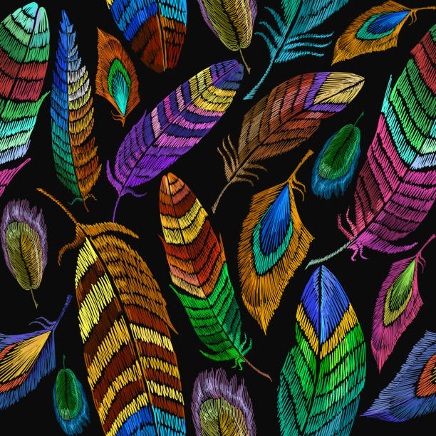 Color feathers embroidery seamless pattern. Fashionable template for design of clothes, t-shirt design. Beautiful feathers of tropical birds fashion embroidery seamless background vector art illustration