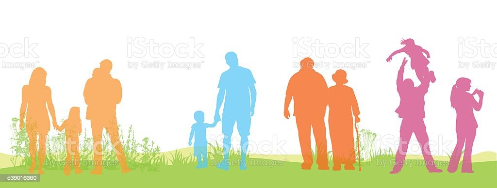 Color Field People vector art illustration