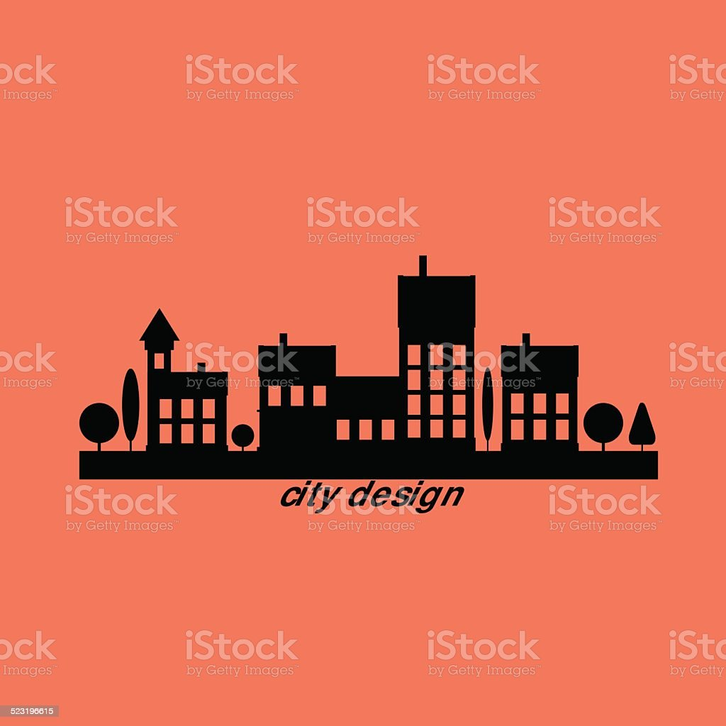 Color flat contours of the urban landscape vector art illustration