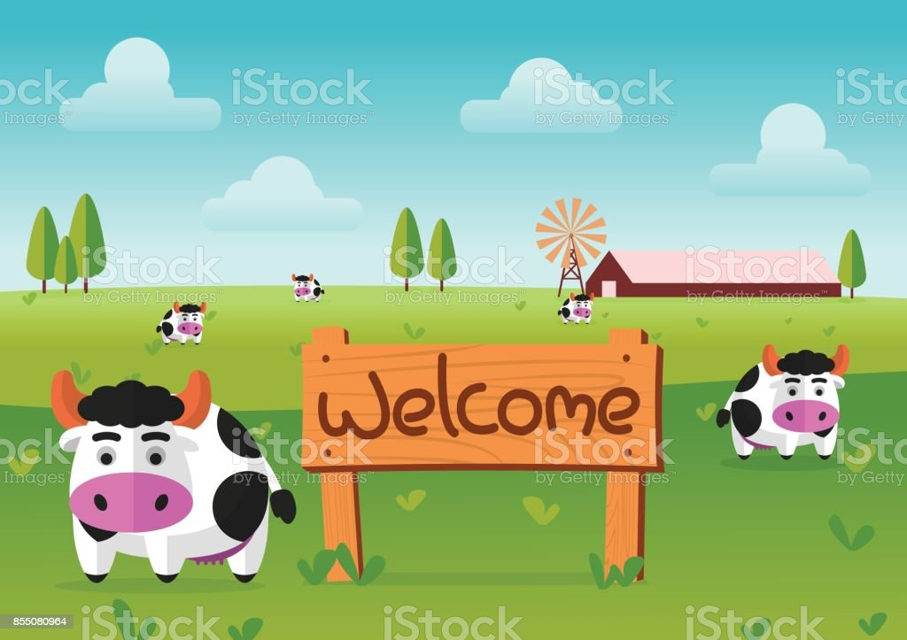 color flat farm of cows stand in green field with welcome wooden board.suitable for animal,agriculture,farm and livestock design jobs vector art illustration