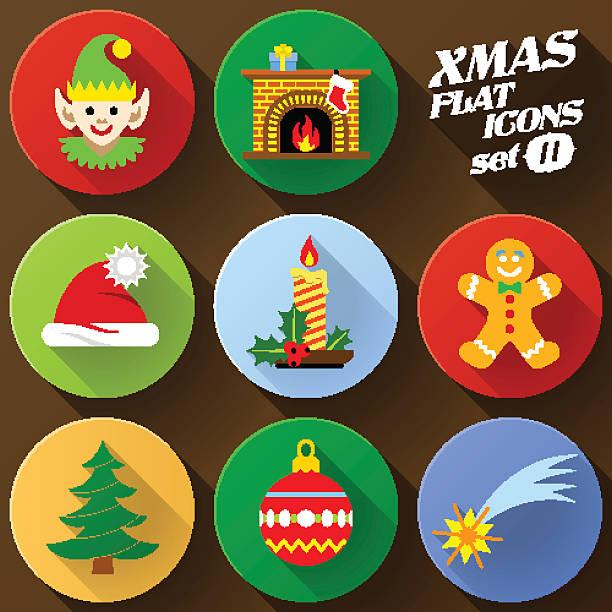 farbe flache icon-set elemente für weihnachten - kaminhaube stock-grafiken, -clipart, -cartoons und -symbole