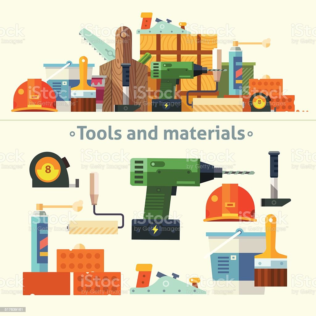 Color Flat Illustrations Tools and Material vector art illustration