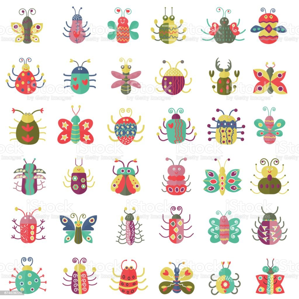 Color flat insects icons set. Simple flat Butterfly, bugs collection. vector art illustration