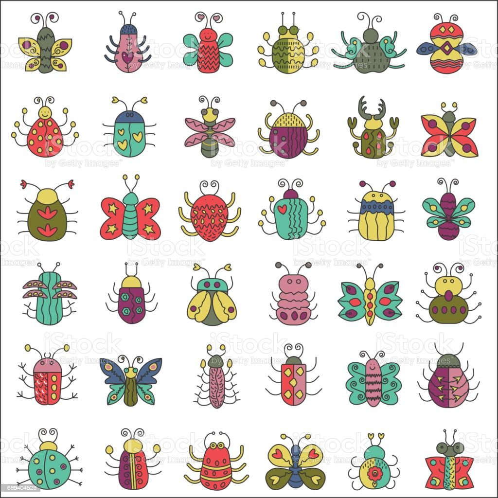 Color flat line insects icons set. Butterfly, bugs collection. vector art illustration