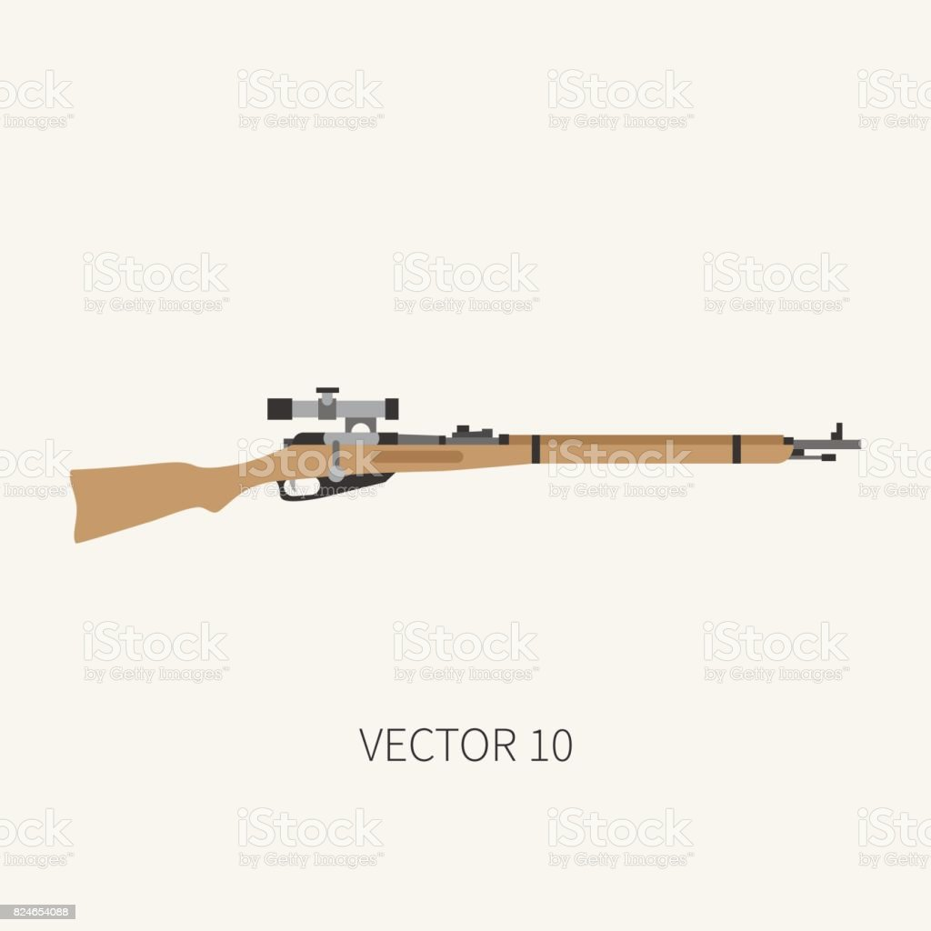 color flat plain vector military icon rifle carbine army equipment