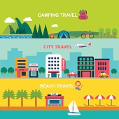 color flat  style vector banners for summer travel